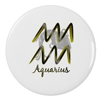 "Aquarius Symbol 2.25"" Round Pin Button"