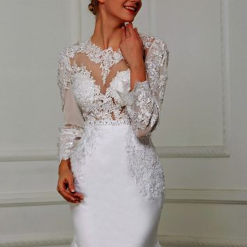 Sheer Boat Neck Hollow Back Elegant Mermaid Wedding Dress With Lace Embroidery Appliques Beading Sashes Bridal Dresses