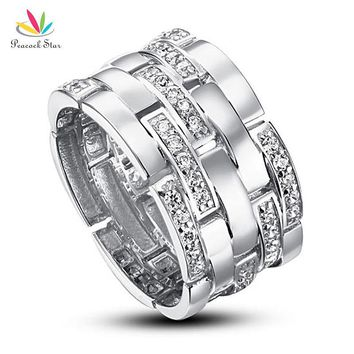Peacock Star Wedding Band Anniversary Sterling Solid 925 Silver Ring Jewelry CFR8005
