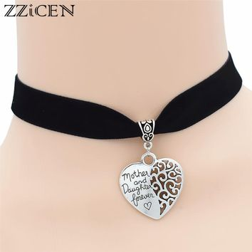 Trendy 2018 Mother and Daughter Forever Love Heart Chokers Pendant Black Choker Handmade Collar Gothic Necklace Punk jewelry