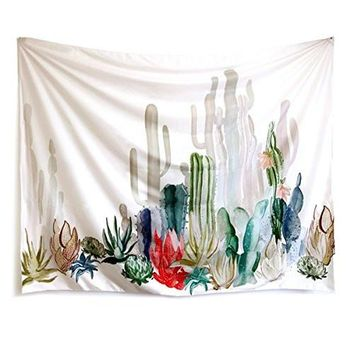 "Cactus Landscape Wall Tapestry Mandala Tapestry Bohemian Tapestry Cactus Tapestry Watercolor Tapestry Indian Wall Decor Hippie Tapestry Headboard Home Decor (M-51.2""X 59.1"", SG204)"