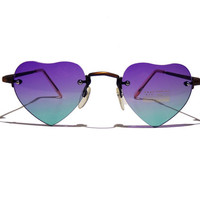 FREE SHIPPING, Womens dark green and dark purple heart sunglasses with rimless lenses and metal arms uv 400 protection beach accessory