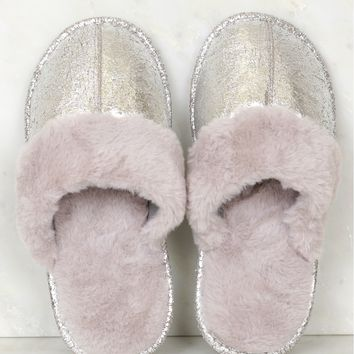Fur Slippers Silver