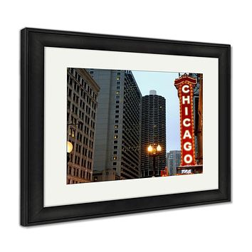 Framed Print, Chicago Sign