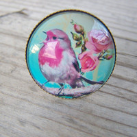 Glass Dome Ring Bird Flowers Blue Pink