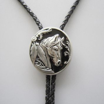 Retail Bolo Tie (Black Western Horse Head Bolo Tie) BOLOTIE-WT057BK Brand New Factory Direct Free Shipping In Stock