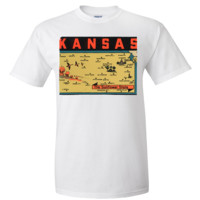 Vintage State Sticker Kansas Asst Colors T-shirt/tee