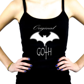 Original Goth w/ Blurred Bat Women's Spaghetti Strap Shirt Dark Underground