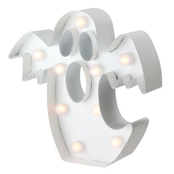 """9.25"""" LED Lighted Battery Operated White Marquee Ghost Halloween Decoration - Clear Lights"""