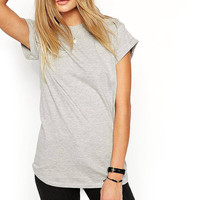 All-match T-shirt With Rolled Cuff Sleeve in Grey