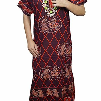 Mogul Interior Womens House Dress Nightgown Printed Cotton Maxi Kaftan Housedress Large: Amazon.ca: Clothing & Accessories