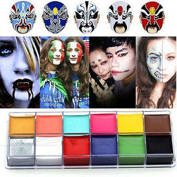 1 Set 12 Colors Flash Tattoo Face Body Paint