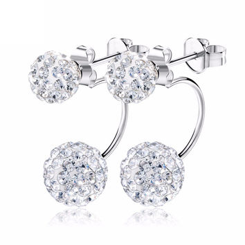 Silver Double Sided Crystal Ball Stud Earrings