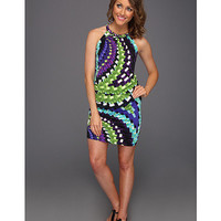 London Times Braided Neck Printed Blouson Dress