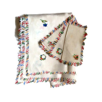 Vintage Embroidered Linen Tablecloth with 3 Matching Napkins, Floral Multi Colored Cross Stitch Embroidery, White Linen, Home Decor, Square