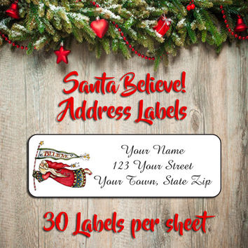 CHRISTMAS Address Labels, Family Personalized Victorian SANTA Believe in Santa