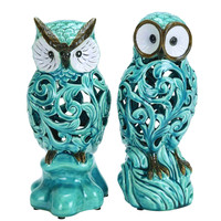 """Decorative Ceramic 11"""" Owl In Blue With Well Design (Set Of 2)"""