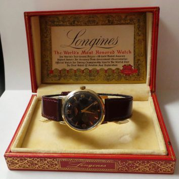 Vintage Longines Automatic Watch Black Dial 17 Jewels 10k Gold Filled Case 3mm