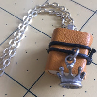 Book Necklace wooden book necklace mini book pendant wrapped in leather with attached charm book jewelry book charm