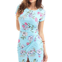 Chic Knot Side Wrapped Light Blue Short Sleeve Floral Dress