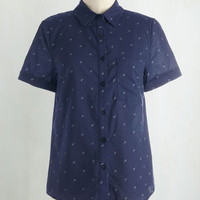 Nautical Mid-length Short Sleeves Button Down Put it Under the Periscope Top