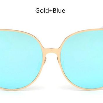 TSHING New Oversized Cat Eye Mirrored Sunglasses Women Fashion Shades Cateye Sun glasses Vintage Famale UV400