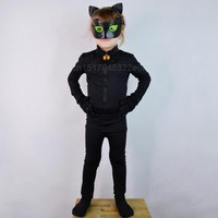 Cool Miraculous Ladybug Boys Jumpsuite Adrien Agreste Black Cat Noir Cat suit Cosplay Costume Lady Bug Kid Halloween Fancy ClothesAT_93_12