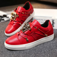Versace Fashion Casual Red Big Logo Low Help Flat Running Sports Shoes Sneakers G