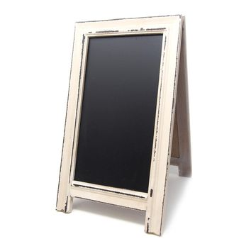 Double-Sided Distressed Wood Chalkboard Easel, Ivory, 15-Inch