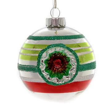 Shiny Brite HS ROUNDS WITH REFLECTORS. Christmas Ornament Stripes 4027374S Silver