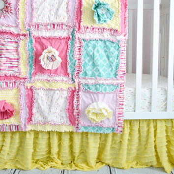 Crib Set in Pink, Mint, and Yellow, Rag Quilt Nursery, Includes Rag Quilt, Crib Skirt, Sheet and Bumpers
