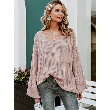 Pastel Pink Solid Drop Shoulder Pocket Front Sweater