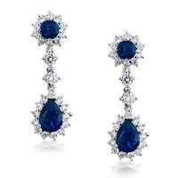 Bling Jewelry Clear and Simulated Sapphire CZ Chandelier Earrings Rhodium Plated