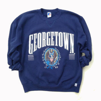 Medium / Large Georgetown Crewneck Sweatshirt - Navy Blue Georgetown Hoyas Crewneck - Vintage Clothing