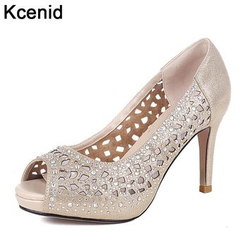 Kcenid Gold pink fashion rhinestone 9cm high heels women pumps 2018 summer new peep toe hollow out glitter women wedding shoes