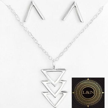 Genuine 925 Sterling Silver Geometric V Necklace Earring Sets