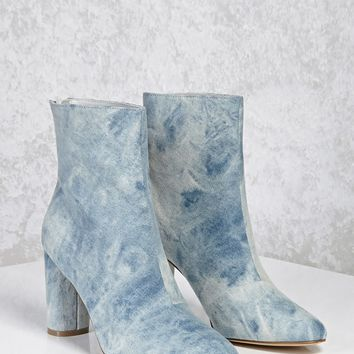 Acid Wash Denim Ankle Boots