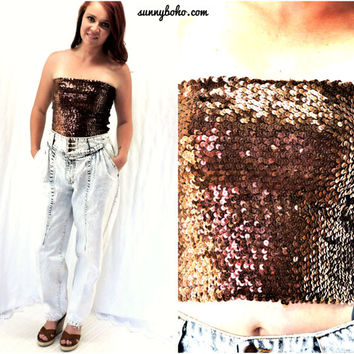 cb989dec071 Vintage 80s brown copper sequined tube top S   M 1980s retro dis