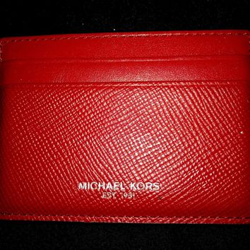 Michael Kors Slim Card Carrier Wallet Red