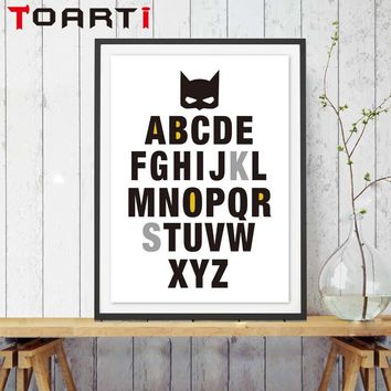 Batman Dark Knight gift Christmas Batman A to Z Letter Inspirational Quote Canvas Painting Art Print Poster Nursery Wall Picture Kids Baby Room Decor No Frame AT_71_6