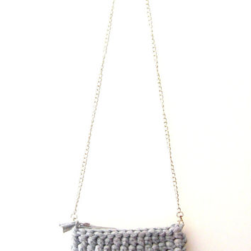 Gray Cotton Bag, Gray Cotton Clutch, Gray Tshirt Yarn Clutch, Gray Tshirt Yarn Bag, Gray Crochet Clutch, Crochet Bag, Gray Fiber Clutch.