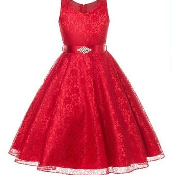 Girls Party Princess Lace Dress Size   3 T to 12 years old
