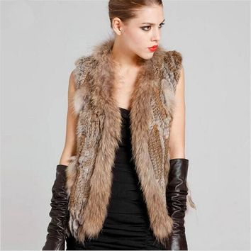 10 Colors Plus Size S~XXXL Genuine Rabbit Fur Vest With Raccoon Fur Trun Down Collar Jacket Women Rabbit Fur Coat Free Shipping