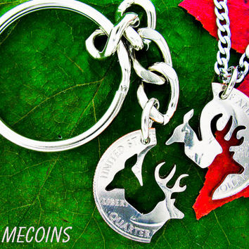 Buck and Doe Keychain, hunting jewelry, Deer necklace, with fine STAINLESS STEEL CHAINS, Interlocking Set hand cut coin