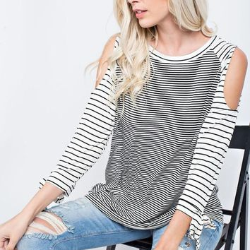 Cold Shoulder Striped color block top with Ribbon Tied Sleeves - Black/Ivory