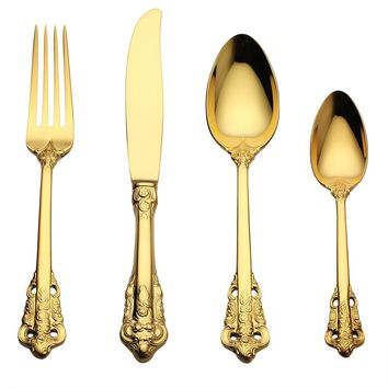 Lekoch 4Pc/set Luxury Golden Cutlery Set Gold Plated Stainless steel Dinnerware Dinner Fork Scoop Knife Scoop Set Christmas Gift