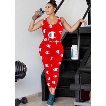 Champion Women's Tide brand full-print letter jumpsuit Red