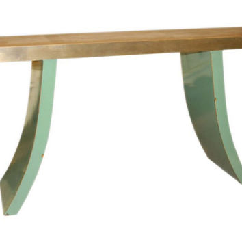 Console Curved Leg  Table, Green/Copper, Console Table