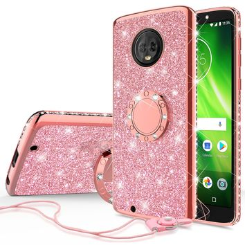 Motorola Moto G6 , Moto G6 2018 Case, Glitter Cute Phone Case Girls with Kickstand,Bling Diamond Rhinestone Bumper Ring Stand Sparkly Luxury Clear Thin Soft Protective Motorola Moto G6 Case for Girl Women - Rose Gold