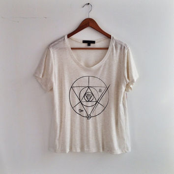 "The ""Sigil"" T Shirt - Cream with Black Print - Linen/Rayon blend mini rib sheer Knit"